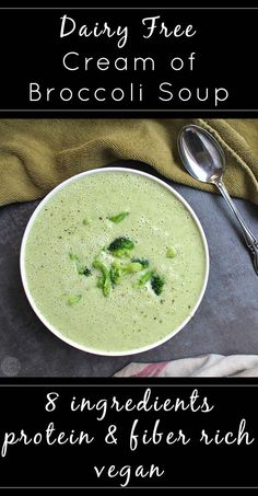 Simple, dairy free cream of broccoli soup is healthier than its cream-filled counterpart without sacrificing any deliciousness!