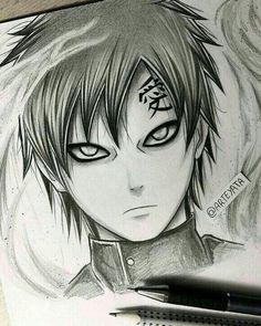 Ga'ara - from Naruto Naruto Drawings, Naruto Sketch, Anime Drawings Sketches, Anime Sketch, Manga Drawing, Manga Art, Manga Anime, Anime Boys, Hand Drawings
