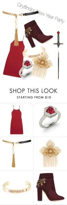 """""""Gryffindor New Year Party"""" by harrypotter5731 ❤ liked on Polyvore featuring Reformation, Diamondere, Yves Saint Laurent, Miriam Haskell, Warner Bros. and Aquazzura"""