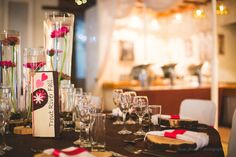 Hot Pink and Black themed wedding! What a beautiful combo for a wedding! Classic White, Hot Pink, Table Settings, Reception, Candles, Table Decorations, Country, Wedding, Beautiful