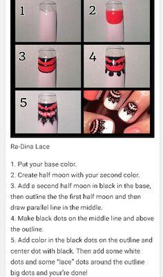 Ra-Dina Lace Nail Design Art Tutorial @Ra_Dina