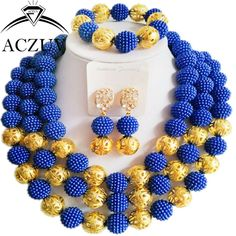 laanc The Braided Models Blue and Orange African Beads Jewelry Set 2016 A-035U