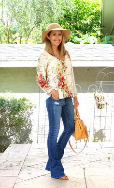 Today's Everyday Fashion: Day Off — J's Everyday Fashion Boho floral blouse, flare jeans, wool hat Fall Fashion Trends, Fashion Days, Autumn Fashion, Fashion Outfits, Womens Fashion, Fashion Fashion, Fashion Brands, Fashion Spring, Ladies Fashion