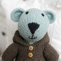 Alice Bear Hand-Knit Organic Stuffed Toy #rosenberryrooms
