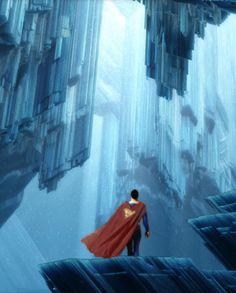 Superman: Fortress Of Solitude // painted artwork by Superman Movies, Superman Family, Superman Man Of Steel, Batman And Superman, Superman Stuff, Superman Room, Superman Birthday, Dc Heroes, Comic Book Heroes