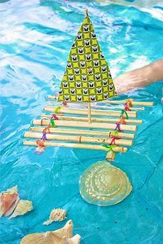 #Basteln mit Kindern: Floß zum Spielen;