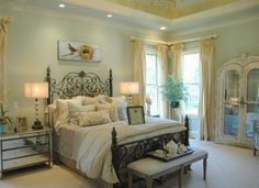 Sherwin Williams Contented Green In Master Bedroom