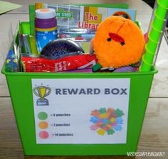 "Children's Reward Charts & Box---Hmm, I'm not so nuts about the ""stuff"" aspect of this, but maybe I could make a reward jar, with special activities written on pieces of paper...or something..."