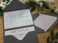 Pink & Gray Monogram Arrow Pocketfold Wedding by bridalbychris