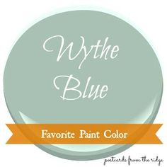 Favorite Paint Color ~ Benjamin Moore Wythe Blue Wythe Blue is somewhere between a blue, green and gray. It's soft, but not washed out. As with any color, it will appear lighter if used outdoors...sunlight always makes colors look lighter. And that doesn't mean that it fades.