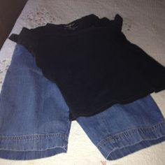 SOLD on another site. Shirt and short outfit Christopher Banks bermuda denim shorts, size 4. Black Eddie Bauer t shirt, size M. Gently worn. Comfy outfit 10$ Eddie Bauer Tops