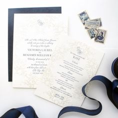 Elegant Navy and Cream Letterpress Santa Barbara Wedding Invitation with Velvet Backing and Silk Ribbon Details Luxe Wedding, Wedding Menu, Wedding Details, Letterpress Wedding Stationery, Vintage Stamps, Silk Ribbon, California Wedding, Santa Barbara, Velvet