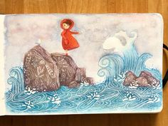 """Clara Ferrer on Instagram: """"🌊Talking with the sea Inspired by one of my favorite animation movies """"Song of the Sea"""". ➡️Swipe to see some close ups.  I use this…"""" Animation Movies, Disney Animation, Song Of The Sea, Disney Animated Movies, Movie Songs, Close Up, Inspired, My Favorite Things, Painting"""