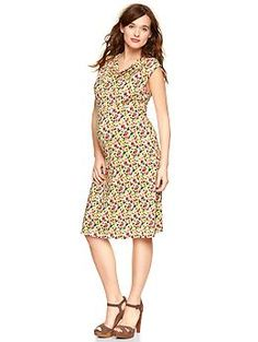 Printed drape-front dress | Gap