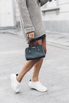 Calvin Klein Platinum Sofie Bag, Grey Knit + Sneakers   @KlearlyKirsty