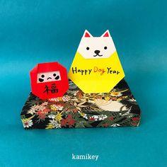 """戌年飾りの本命(?)「いぬだるま」です!置きタイプにも、平面にしても使えます。 ✴︎ 「いぬだるま」「だるま」「シンプルなひな台」の作り方動画は、YouTubeチャンネル【創作折り紙 カミキィ】でご覧ください(プロフィールにリンクがあります) ✳︎ Designed by kamikey Tutorial on YouTube """"kamikey origami """" link on my bio. #origami #折り紙 #kamikey #カミキィ#戌年飾り"""