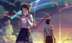 君の名は kimi no na wa Mitsuha And Taki, Kimi No Na Wa Wallpaper, Your Name Wallpaper, Hd Wallpaper, The Garden Of Words, Your Name Anime, What Is Your Name, Animes Wallpapers, Studio Ghibli