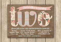 printable birthday invitations, baby girl invitation, boho chic burlap invitation, floral kids b Baby Girl Invitations, 2nd Birthday Invitations, Party Invitations Kids, Digital Invitations, Invitation Ideas, Invites, Fourth Birthday, Baby Girl Birthday, Birthday Fun