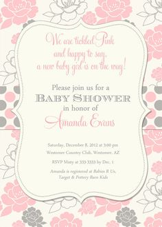 Girl Baby Shower Invitation Pink and Grey by PartyPopInvites, $17.00