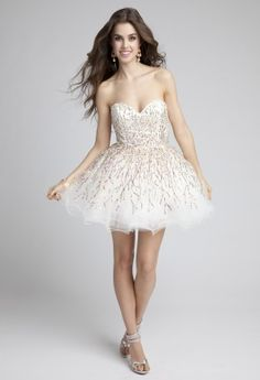 Prom Dresses 2013 - Short Tulle Prom Dress with Multi-Color Sequins from Camille La Vie and Group USA