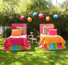 Cheerful room for twin girls or a shared girls room.   Mix-and-match bedding from www.PalmBeachTots.com