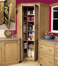 Fine Looking Tall Corner Kitchen Pantry