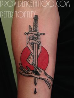 dagger hand tattoo by peter toatley at providence tattoo  #providencetattoo…