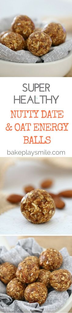 Nutty Date Oat Energy Balls cup) roughly chopped roasted almonds cups) rolled oats cup) pitted medjool dates 2 tsp vanilla extract pinch sea salt cup) honey cup peanut butter Lunch Box Recipes, Raw Food Recipes, Snack Recipes, Cooking Recipes, Healthy Recipes, Healthy Options, Free Recipes, Healthy Sweets, Healthy Baking