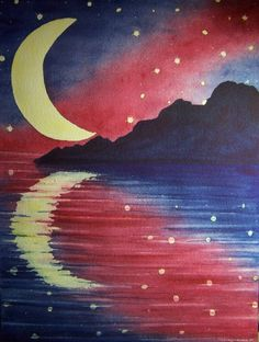 Starry Lake Watercolor Print Landscape Night by ConnisCollections  Reflection.... I hope you like what you see in your own reflection.  ❤