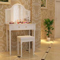 Songmics Tocador con cajones, espejo y taburete Mesa de maquillaje, Blanco, RDT33W - http://vivahogar.net/oferta/songmics-tocador-con-cajones-espejo-y-taburete-mesa-de-maquillaje-blanco-rdt33w/ -