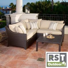 RST Slate 4-piece Corner Sectional Sofa and Coffee Table Set Patio Furniture Outdoor model OP-PESS4-SLT-K | Overstock.com