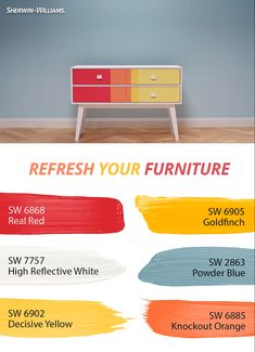 Everyone needs a talking piece! This furniture refresh uses only the brightest Sherwin-Williams colors like High Reflective White SW 7757, Real Red SW 6868, Goldfinch SW 6905 plus more vibrant hues. Painting custom patterns like this one are easier than they seem. Click through to get the step-by-step.