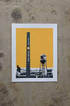Lucky Strike Richmond Virginia Landmark, Durham NC, Richmond VA Skyline Print, Richmond Artwork, Smokestack Print, Water Tower Print by LightboxPrintCo on Etsy https://www.etsy.com/listing/280326044/lucky-strike-richmond-virginia-landmark