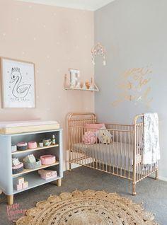 TOUR A SWEET PEACH + GREY NURSERY FOR TWINS -> 22crowns.com // peach, grey, gold, pink, nursery, baby, girl