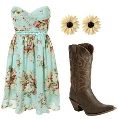 *Country Sundress with Cowboy Boots and Sunflower Earrings* #Summer Clothes #Country Life #Country Clothes #Country Girl