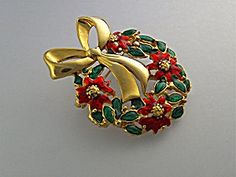 Brooch Pin Christmas Gold Enamel Poinsettia Wreath USA. Click on the image for more information.