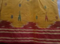 Ikat Handloom Cotton Saree Yellow Red Blue Fabric Indian by RaajMa