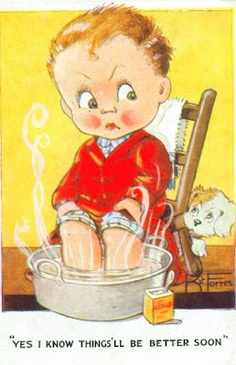 WW2 postcard - boy dreams of better times to come