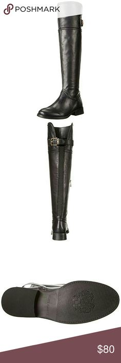 Vince Camuto OTK Leather Boots Like new worn once, still in the original box.  Does have some give around the calf, no struggle to put on and they're very comfortable.  I more so enjoy heels instead these are flat. Reasonable offers, no low ballers please. Vince Camuto Shoes Over the Knee Boots