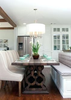Fixer upper bench island seating with kitchen lip chip and joanna gaines making person dining table wrought iron range hood exhaust fan breakfast stools Kitchen Island Dining Table, Kitchen Dining Combo, Kitchen Island With Seating, New Kitchen, Dining Area, Island Bench, Dining Rooms, Kitchen Ideas, Dining Tables