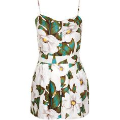 TOPSHOP Aloha Floral Strappy Playsuit (13.495 HUF) ❤ liked on Polyvore featuring jumpsuits, rompers, dresses, playsuits, jumpsuit, vestidos, white, floral jumpsuit, jump suit and white romper