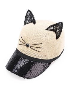 Gorra béisbol con diseño de oreja de gato de encaje