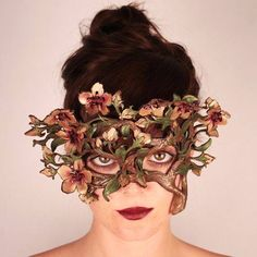 How amazing would this floral mask be for a faerie wedding! Half Mask, Leather Mask, Venetian Masks, Beautiful Mask, Masquerade Party, Fantasy Costumes, Mask Making, Mask Design, Faeries