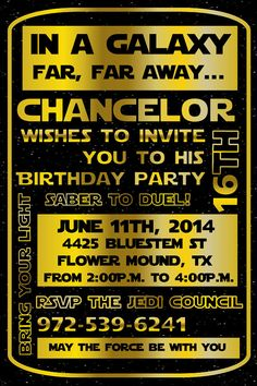 Star Wars Invitation #starwars