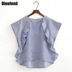 2017 sleeveless Women Srtiped Blouses Ruffles Blouse Shirt Fashion Summer Ladies Tops Leisure New O Collar Shirt Chiffon Shirts Kids Dress Wear, Girl Dress Patterns, Girl Fashion, Fashion Outfits, Chiffon Shirt, Baby Girl Dresses, Look Chic, Kind Mode, Simple Dresses