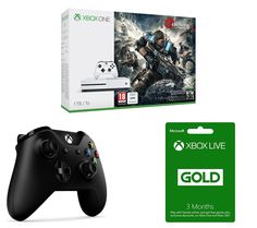 MICROSOFT MICROSOFT  Xbox One S, Gears of War 4, Wireless Controller & 3 Month Xbox LIVE Gold Membership Bundle, Gold Price: £ 279.99 Settle down to some great gaming with the Microsoft Xbox One S, Gears of War 4, Wireless Controller & 3 Month Xbox LIVE Gold Membership Bundle. _____________________________________________________________  Xbox One S The Xbox One S is an enhanced Xbox console...