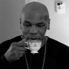 MIke Tyson and tea? No one can resist tea. Mike Tyson, Fun Cup, Famous Faces, High Tea, Coffee Drinks, Drinking Tea, Afternoon Tea, Tea Time, Tea Party