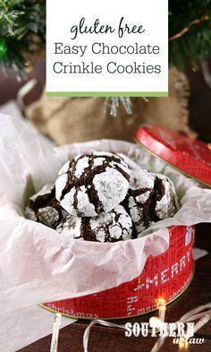 Gluten Free Cookie Recipes, Gluten Free Cookies, Healthy Cookies, Free Recipes, Christmas Cookie Jars, Best Christmas Cookie Recipe, Christmas Gifts, Chocolate Crinkle Cookies, Chocolate Crinkles