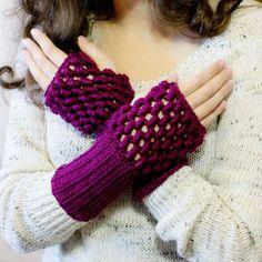 Bullion Stitch Fingerless Gloves Crochet Pattern via Hopeful Honey