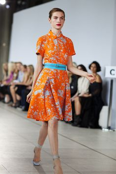 from the Sartorialist at Jonathan Saunders, London. Gorgeous ladylike dress in orange and blue-gray